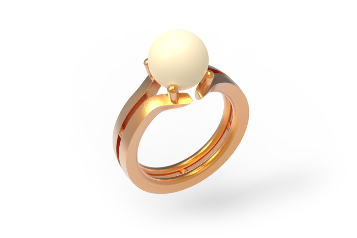 Jewelery design ring with pearl