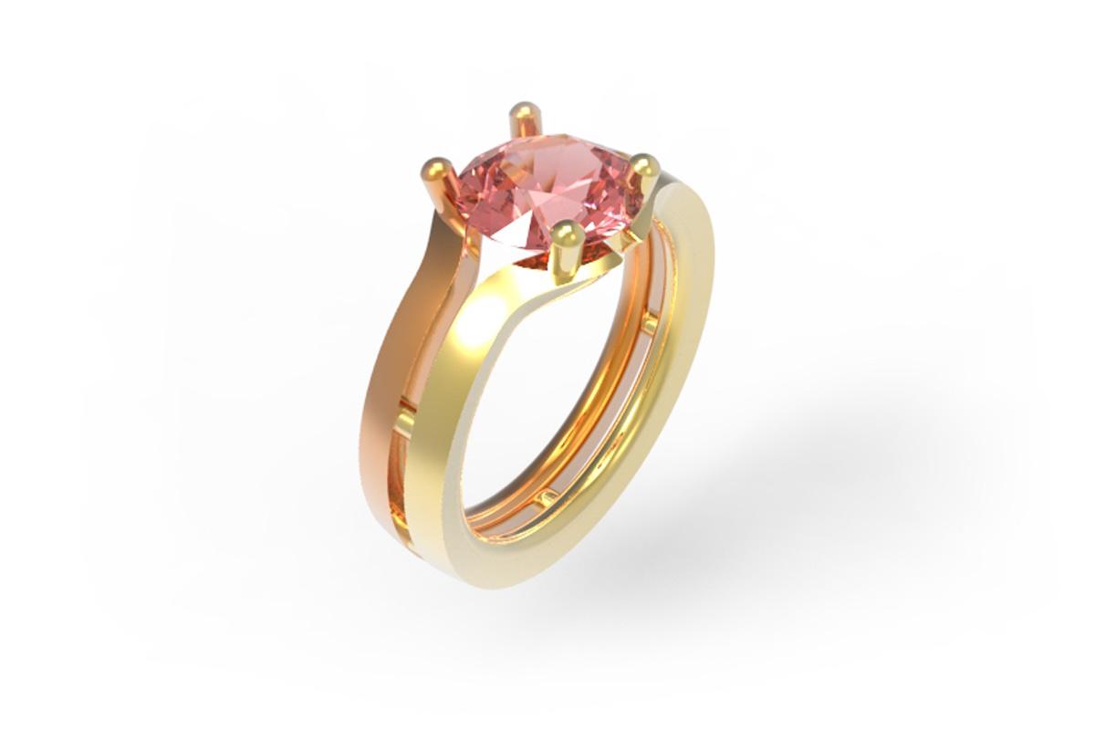 Juwelen design Ring met roze diamant