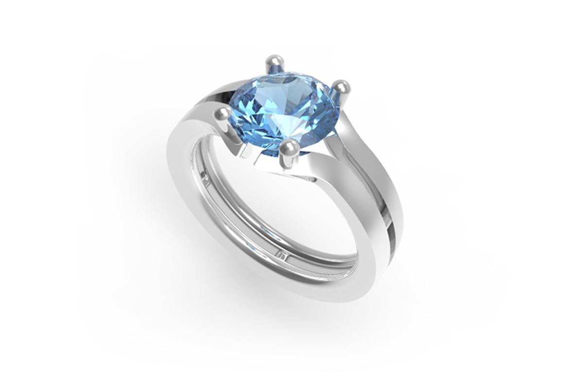 Juwelen design Ring met blauwe saffier